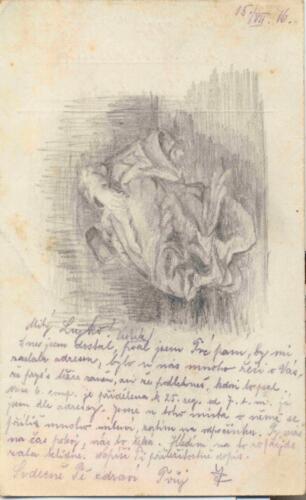Dopisnica iz albuma Pakračanina Luje Šnedorfa poslana za vrijeme njegovog služenja u austrougarskoj vojsci tijekom Prvog svjetskog rata.