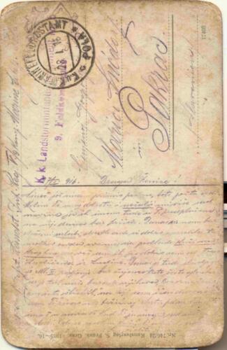 Razglednica iz zbirke Pakračanina Luje Šnedorfa poslana za vrijeme njegovog služenja u austrougarskoj vojsci tijekom Prvog svjetskog rata