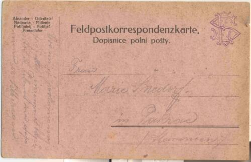 Dopisnica iz albuma Pakračanina Luje Šnedorfa poslana za vrijeme njegovog služenja u austrougarskoj  vojsci tijekom Prvog svjetskog rata